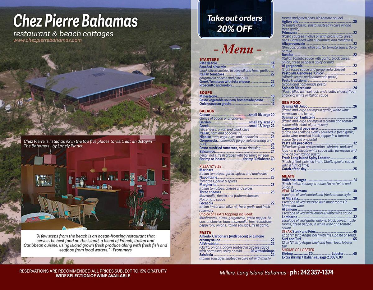 Chez Pierre Bahamas Menu