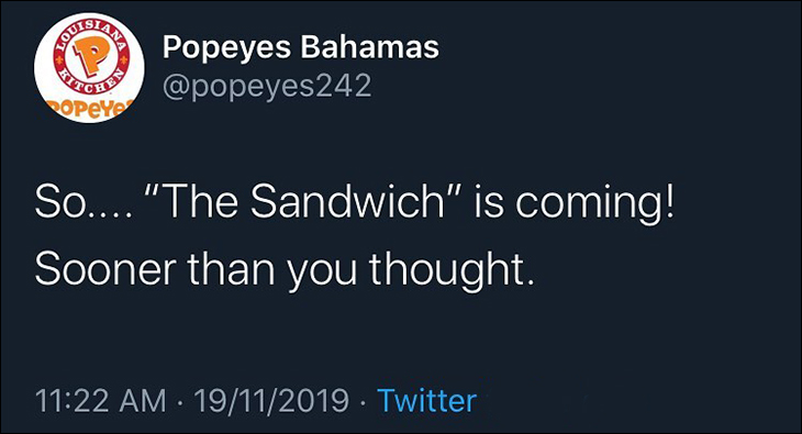 Popeyes Chicken Sandwich Is Coming