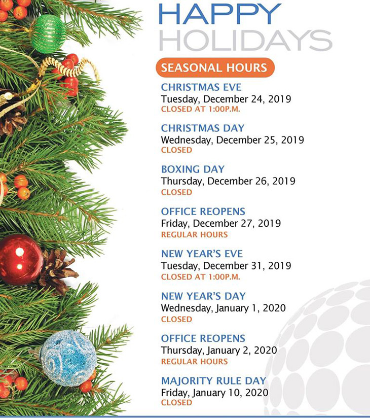 Colina Insurance Limited | Holiday Hours