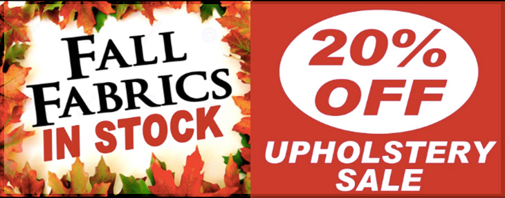Commonwealth Fabrics Center New Fall Fabrics and 20% Off Upholstery Sale