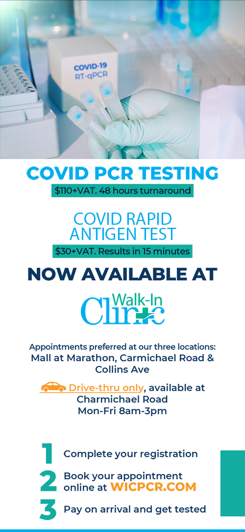 Covid PCR testing and Rapid Antigen test now available at Walk-In Clinic.