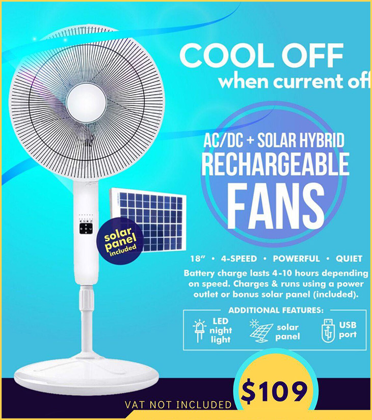 DC Technology Has AC/DC + Solar Hybrid Rechargeable Fans