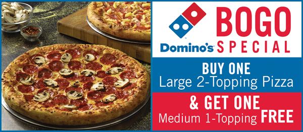 BOGO Special. Buy One Large 2-Topping Pizza & Get One Medium 1-Topping FREE