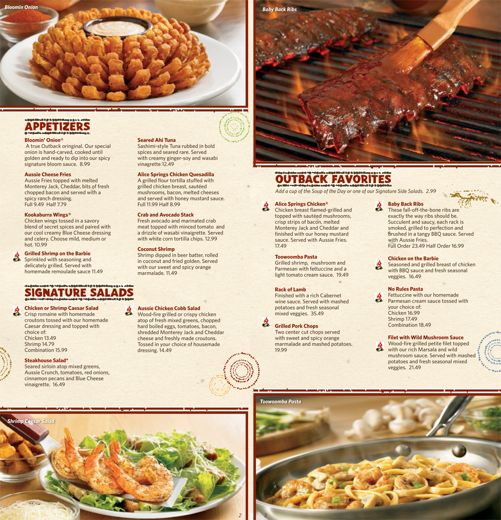 To view a dinner menu, select your local Outback and download the menu. Back on weekends from Oct! Prime Rib is back but only on weekends! Come and enjoy our irresistible Prime Rib!! Information of ingredients used at Outback Steakhouse (updated on 12/1) Business hours at .