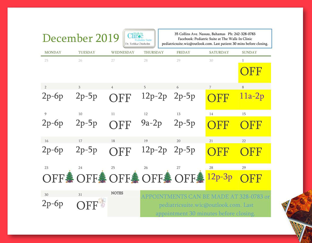 Dr. Chisholm, Pediatrician December 2019 Schedule