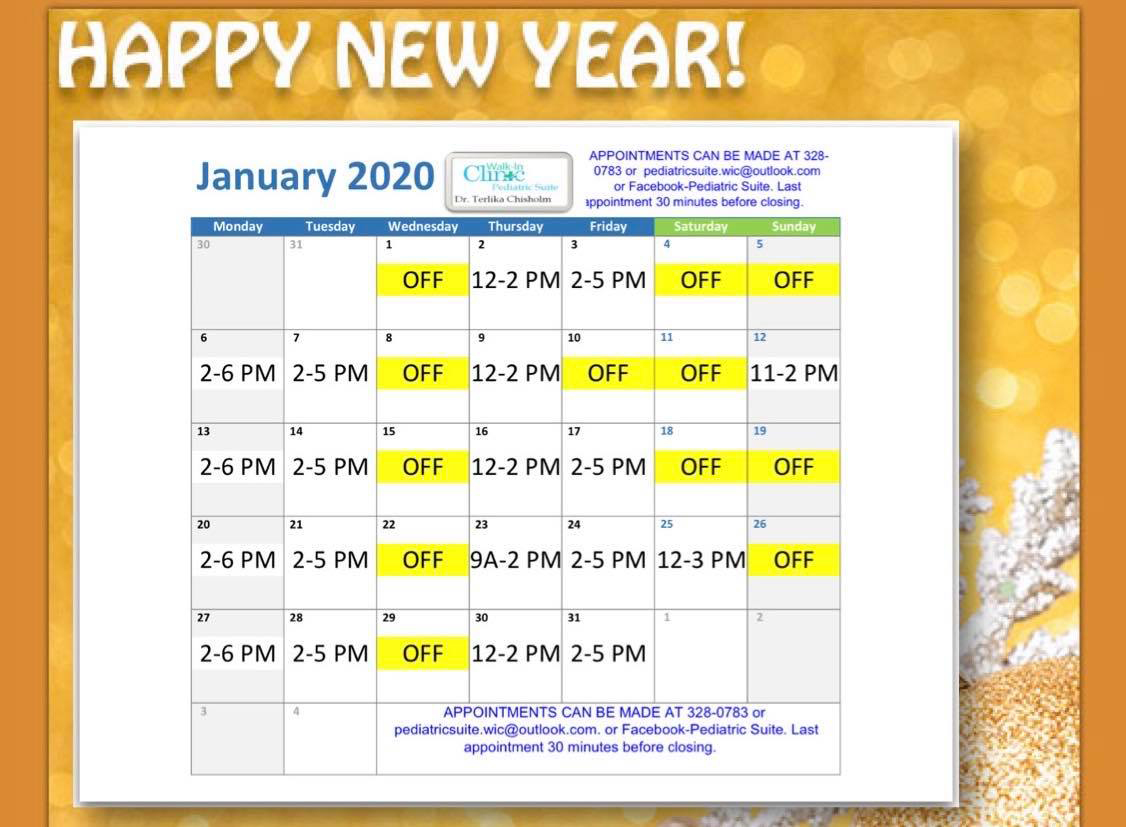 Dr. Chisholm, Pediatrician January 2020 Schedule