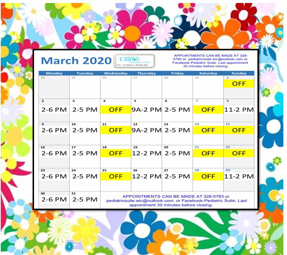 Dr. Chisholm, Pediatrician March 2020 Schedule