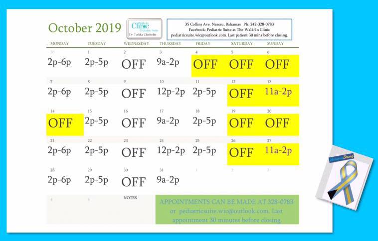 Dr. Chisholm, Pediatrician October 2019 Schedule