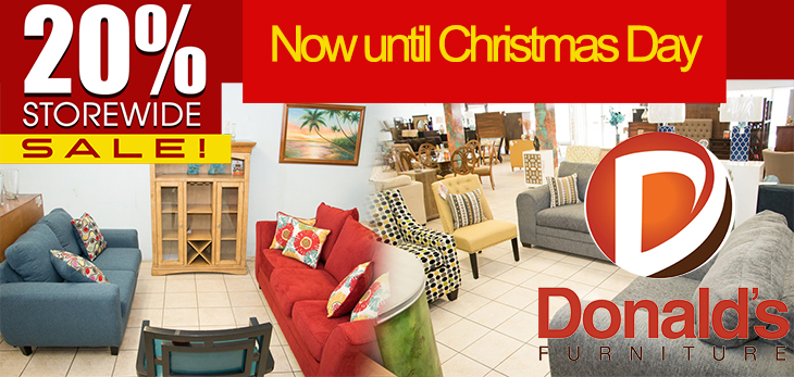 Donalds Furniture |20% Storewide Sale. Now Until Christmas Day