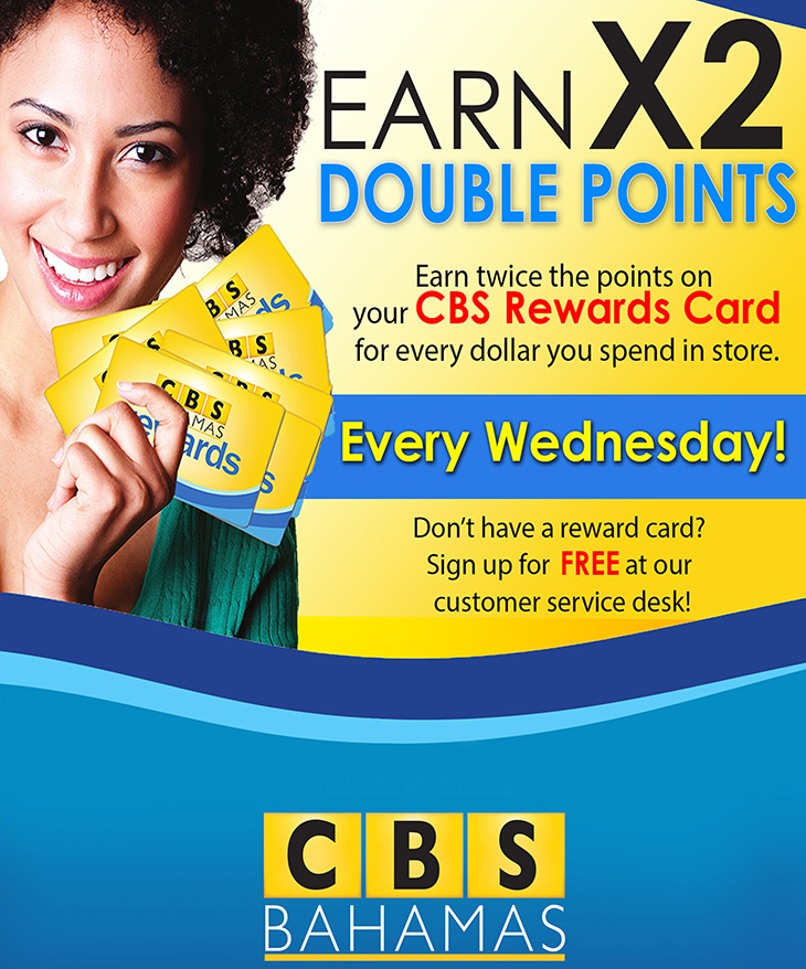 Earn Points With Your Double Rewards Card at CBS Bahamas!