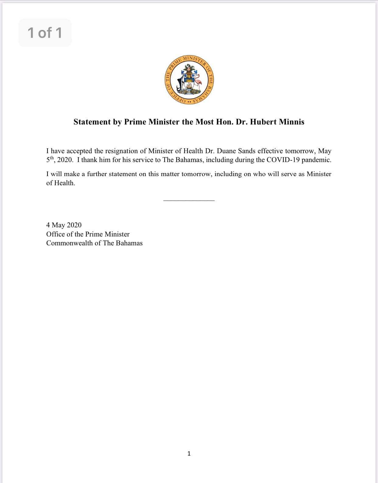 Prime Minister Minnis Accepts Resignation of Dr Sands