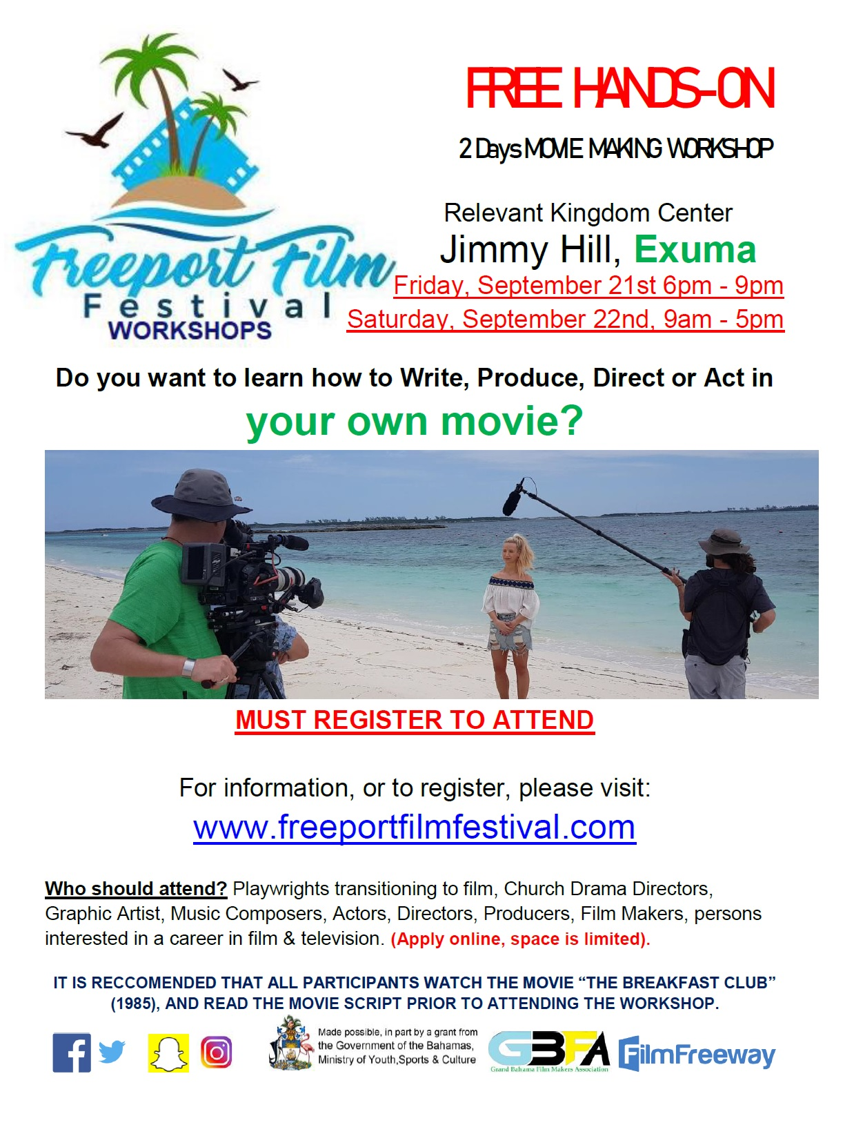 Freeport Film Festival Workshops