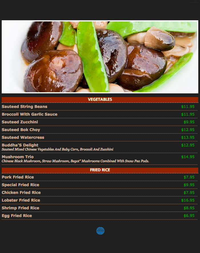East Villa Restaurant Menu
