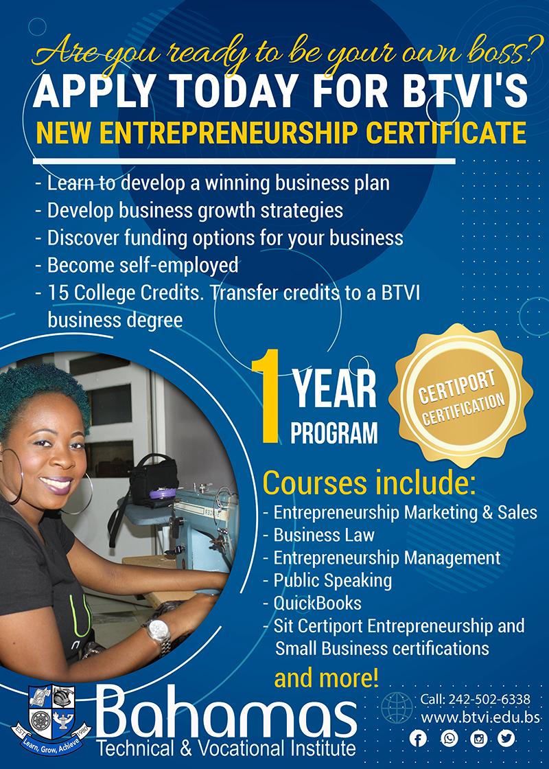 Apply For BTVIs Entrepreneurship Certificate