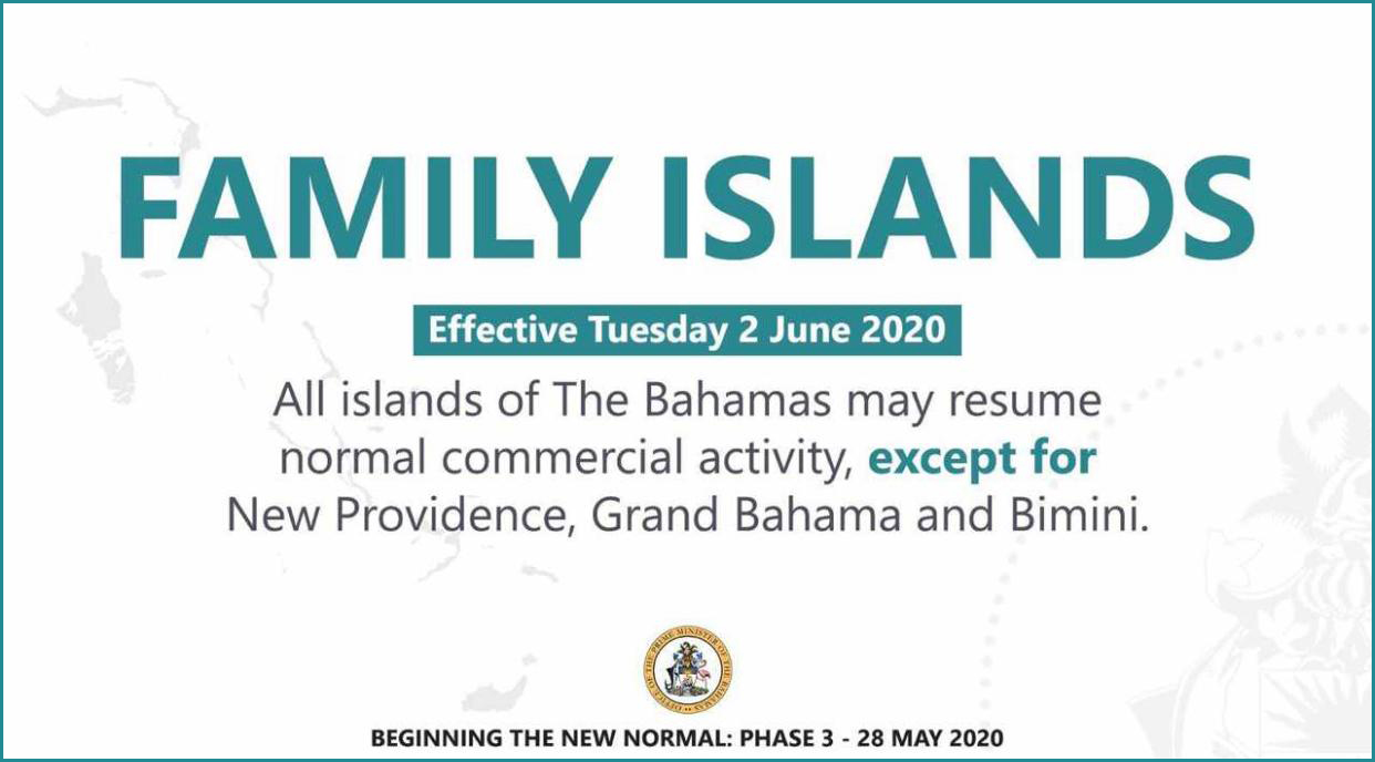 Family Islands Resuming Normal Activities Effective Tuesday June 2nd