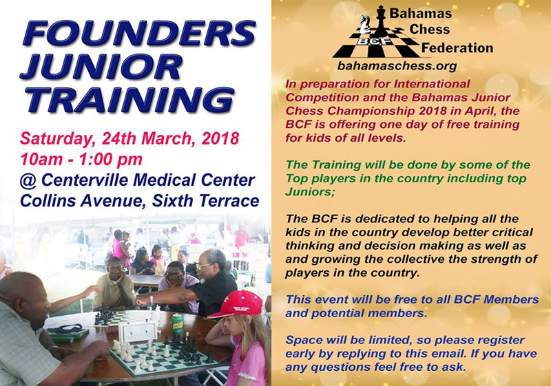 Founders Junior Training Hosted by Bahamas Chess Federation