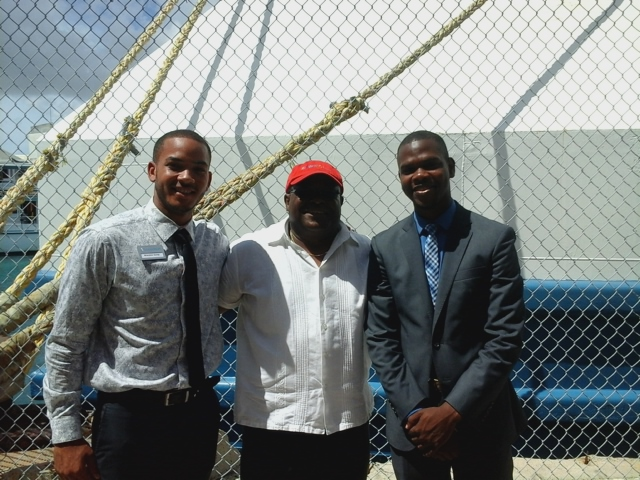 Francis, Travis Robinson and brandon on Logos Hope in Nassau, Bahamas