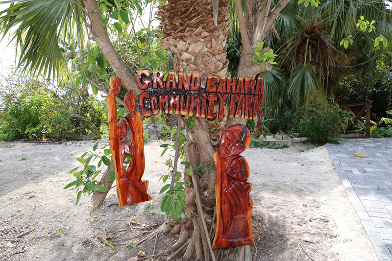 The newly restored Grand Bahama Community Park, also known as the Royal Oasis Park, was toured by officials from the Ministry of Youth, Sports and Culture. Shown is one of the many sculptures seen throughout the area created by Brian Maycock. (BIS Photo/Andrew Miller)