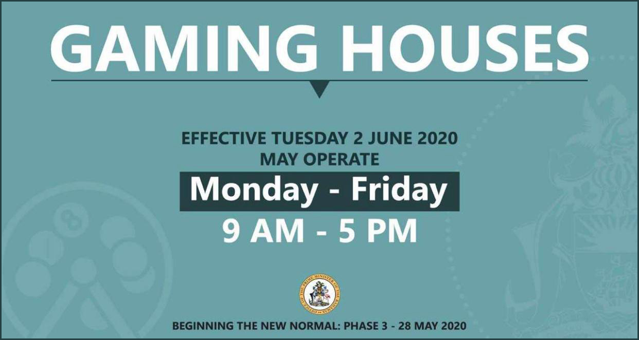 Gaming House Re-Open Effective Tuesday June 2nd