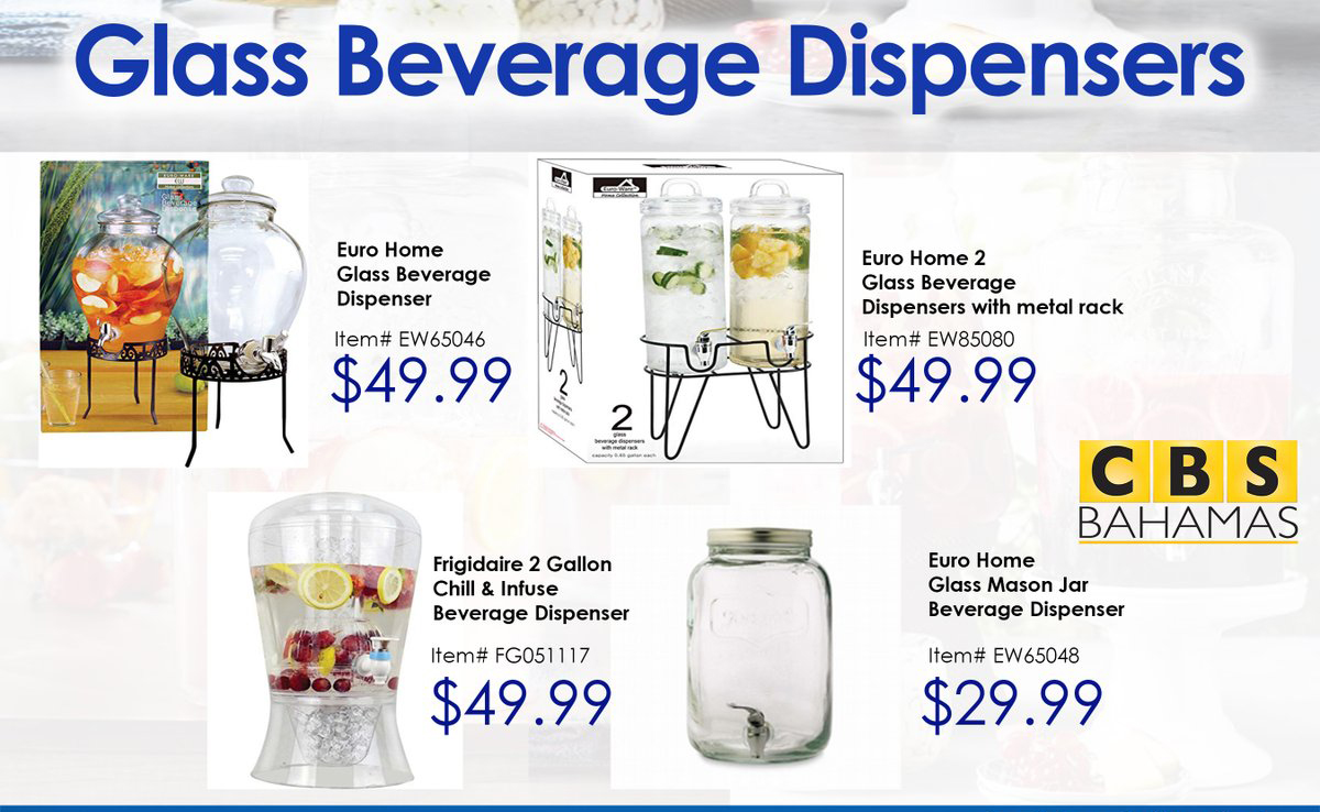 Take a look at these Glass Beverage Dispensers available in our Housewares Department!
