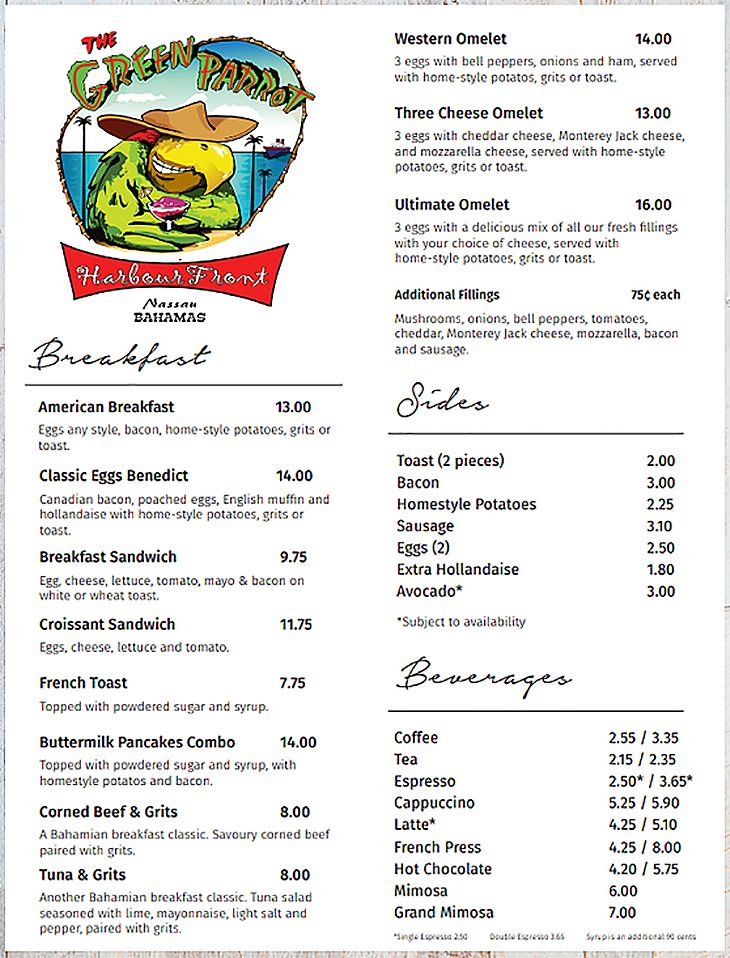 Green Parrot Harbour Front Breakfast Menu