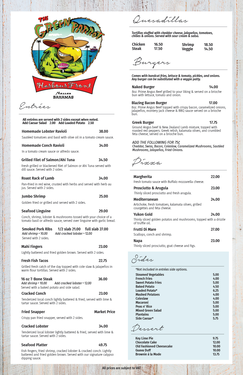 Green Parrot Harbour Front Menu