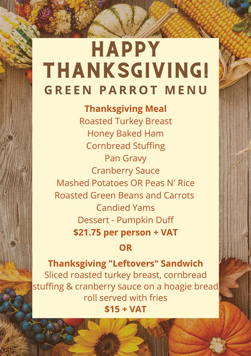 Thanksgiving Menu... Green Parrot Harbour Front