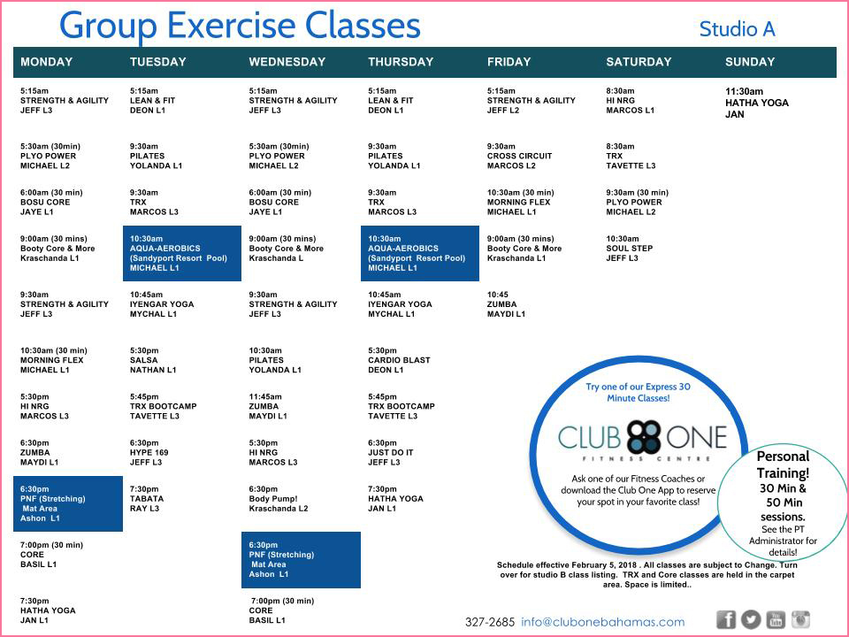 Club One Fitness Centre Schedule