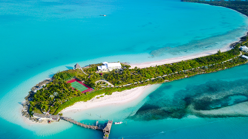 Gun Point, an 80-acre estate at the tip of North Eleuthera complete with two docks, boathouse, 6 bedrooms in main house and guest cottage, tennis court, 210,000-gallon rainwater tank and its own produce farm, boasts one feature that makes it a rare find – it's like a private island with a hidden road to civilization.