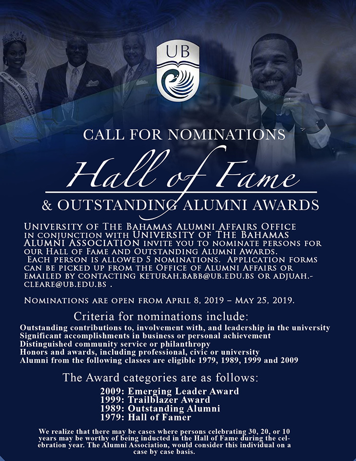 University of The Bahamas Call For Nominations Hall OF Fame And  Outstanding Alumni Awards