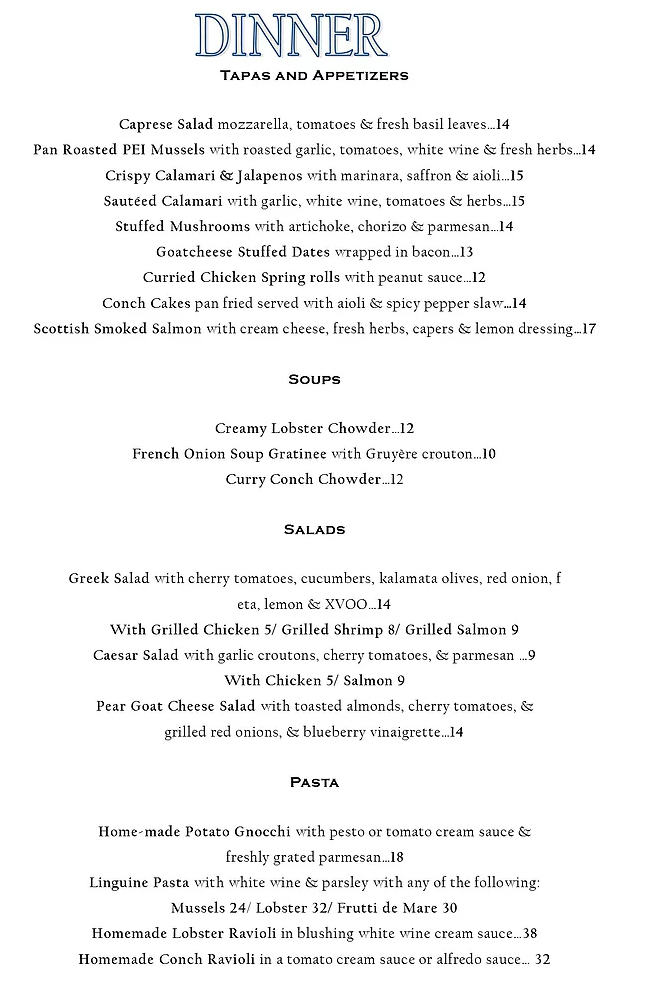 The Harbourfront Lounge Menu