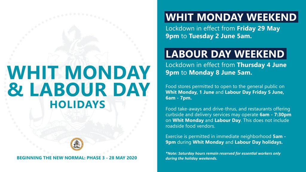 Whit Monday and Labour Day Holidays Lockdown Hours