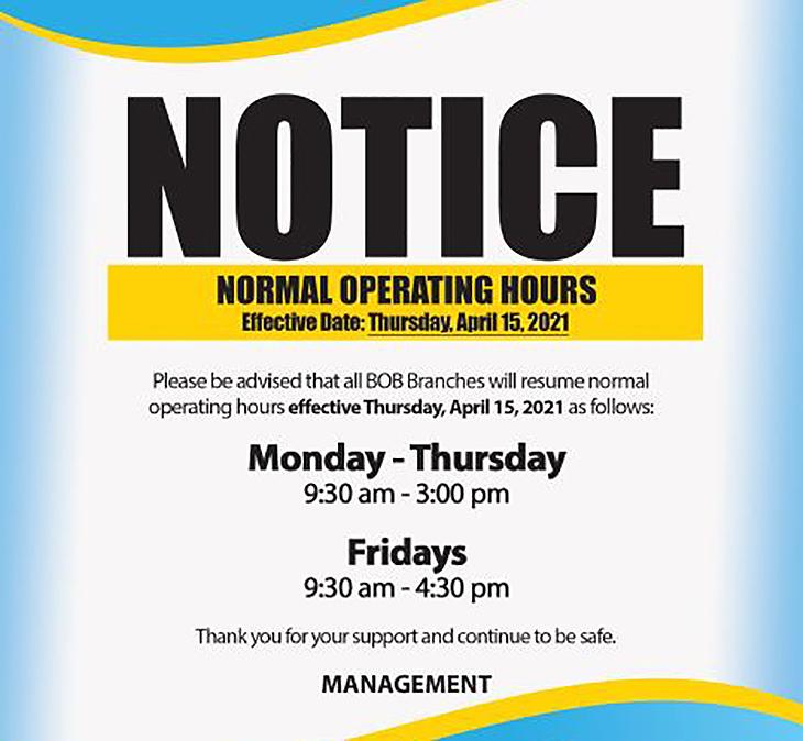 BOB BOB Normal Operating Hours