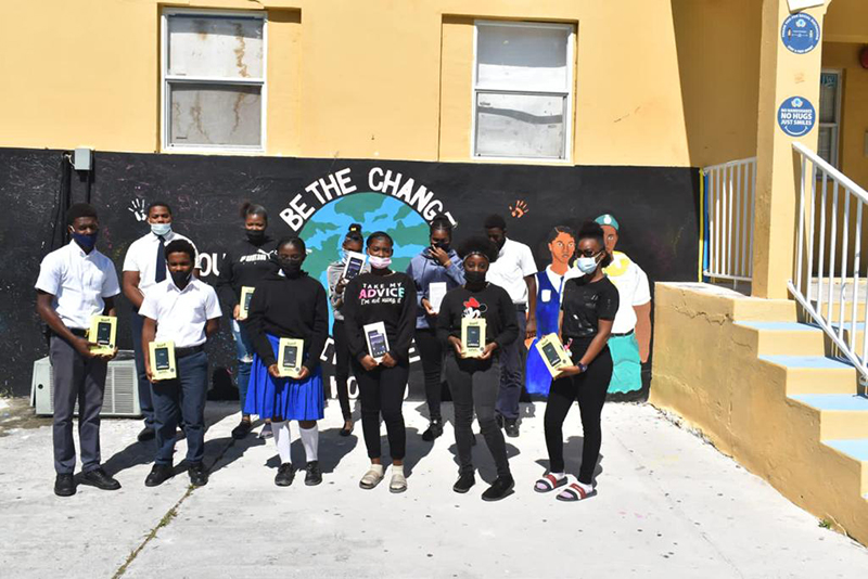 Students of the Louise McDonald high school in bimini were the proud recipients of brand new tablets donated by IMS Marine Pilotage Firm photo courtesy of IMS