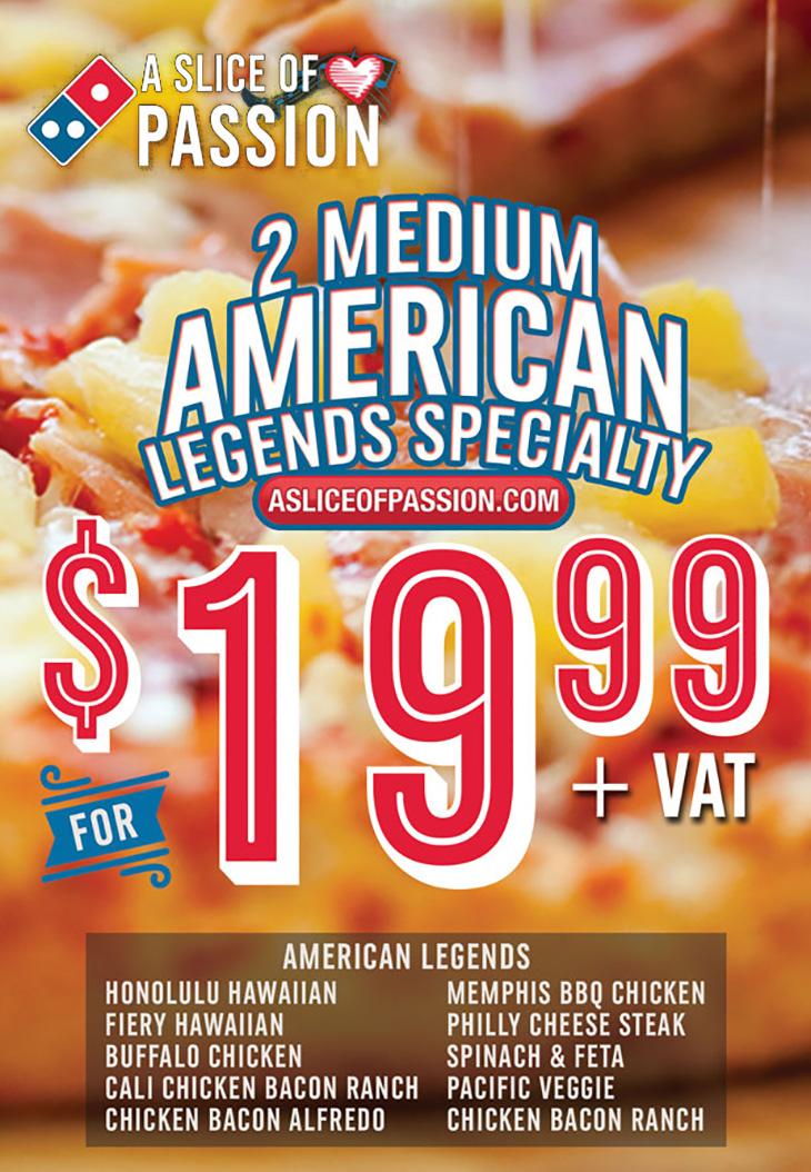 2 Medium American Legends Speciality Pizzas!
