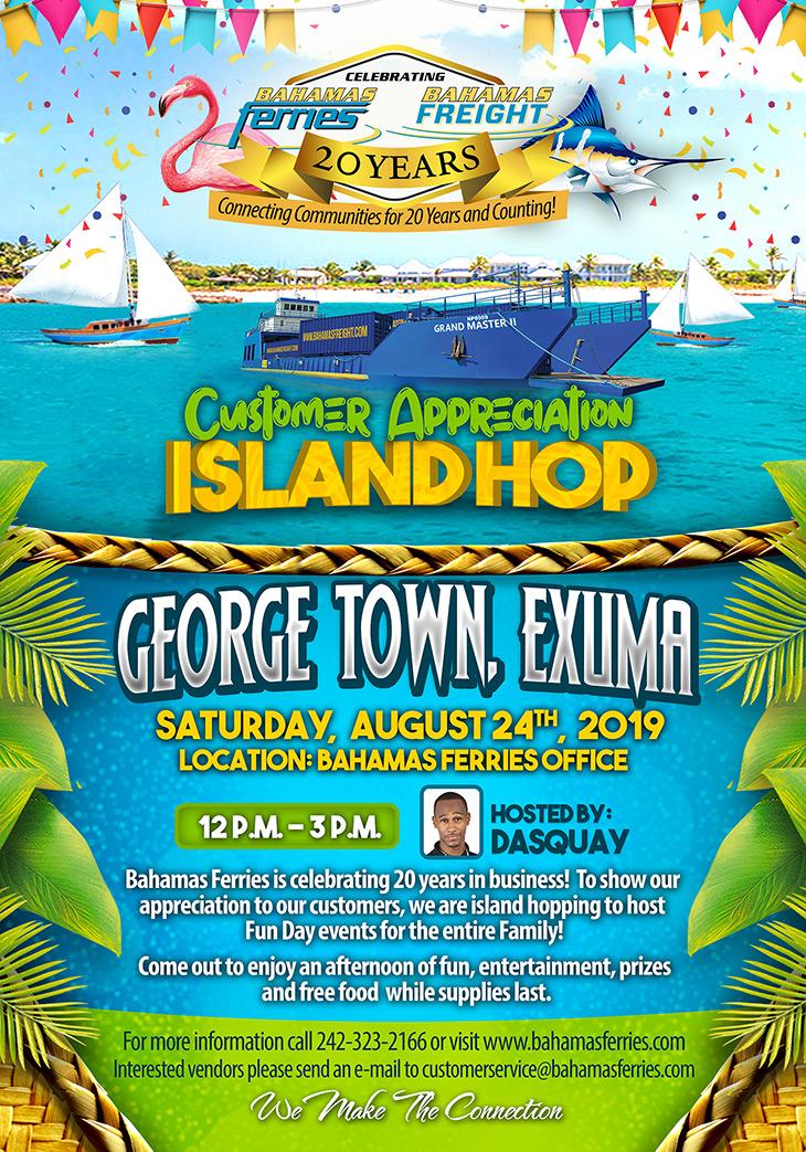 Customer Appreciation Island Hop is hopping to George Town, Exuma
