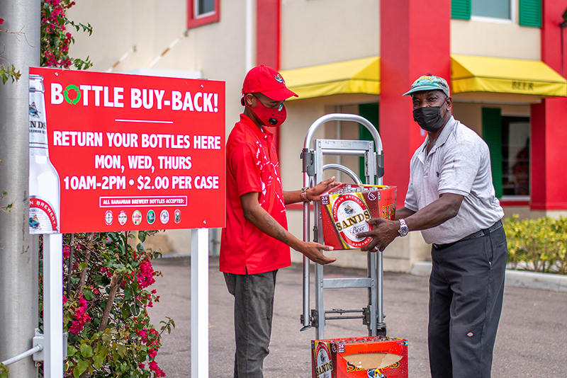 The Jimmy's team members at all the buy-back locations are ready to give you a hand in returning the bottles.