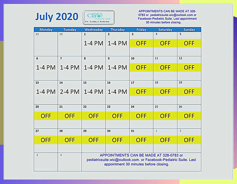 Dr. Chisholm, Pediatrician July 2020 Schedule