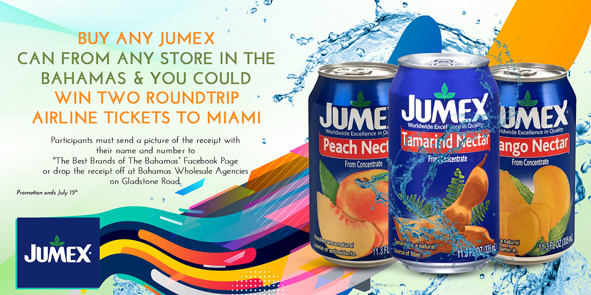Buy Any Jumex Can From Any Store In The Bahamas And You Could Win Two RoundTrip Airline Tickets To Miami