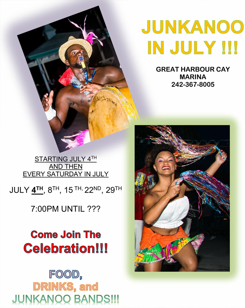 Junkanoo in July at Great Harbour Cay Marina