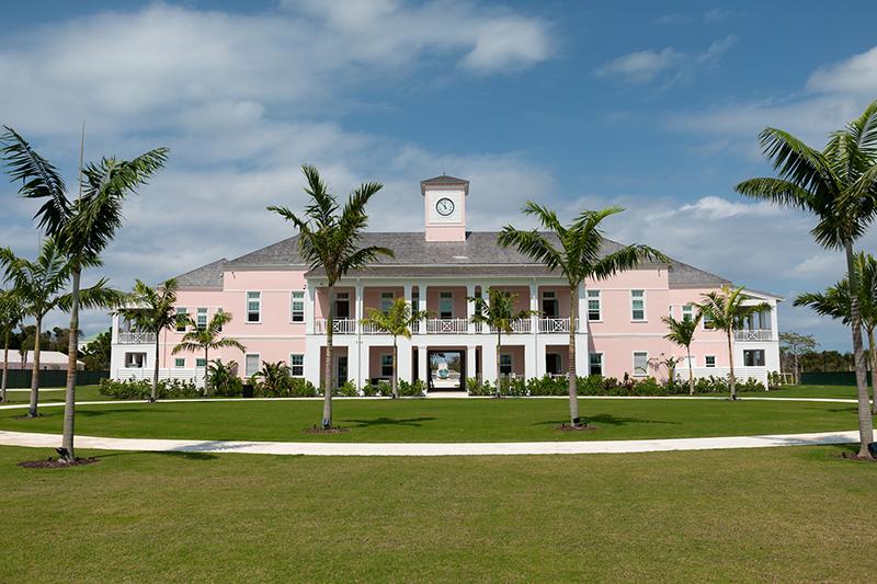 Rear view of the new Lyford Cay International School (LCIS) Upper School campus.