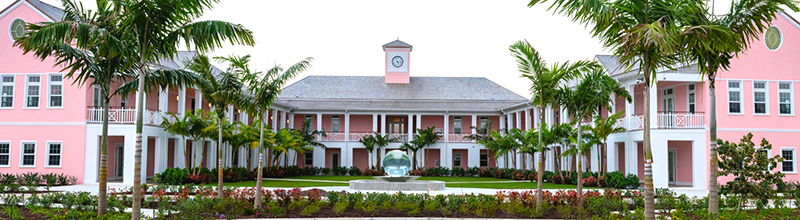 Front view of the new Lyford Cay International School (LCIS) Upper School campus.