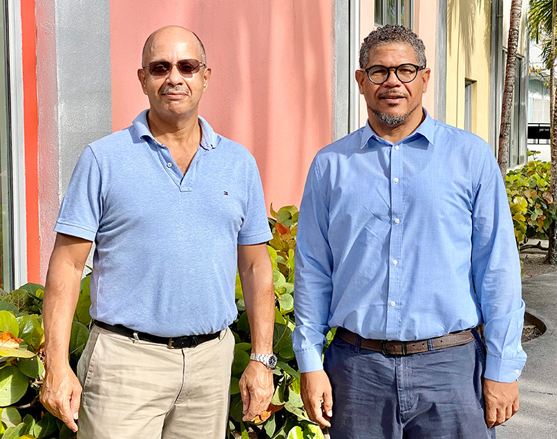 Quentin Knowles, President of the Bahamas Society of Engineers (BSE), meets with Lionel Turnquest, Director of Projects and Facilities at Nassau Cruise Port Ltd., to discuss the activities slated for National Engineers Week 2021.