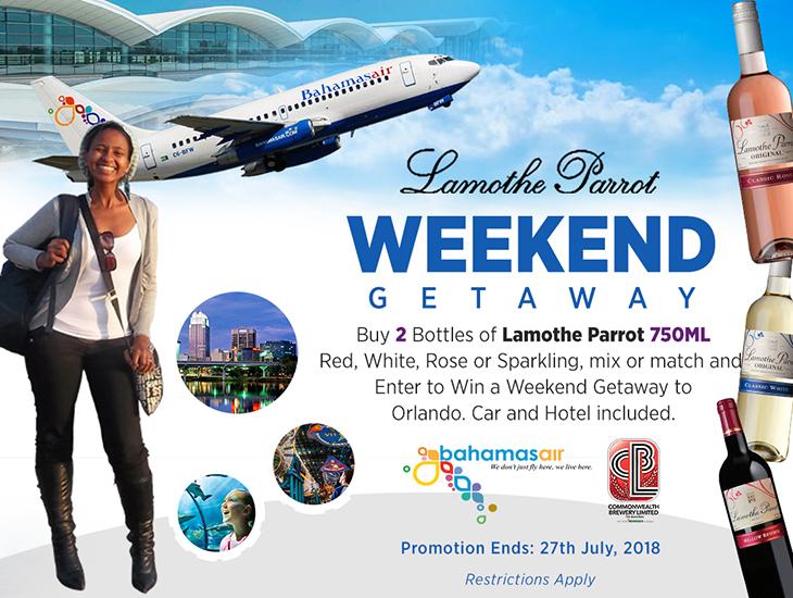 Lamothe Parrot Enter to Win Trip to Orlando. Enter To Weekend Getaway!