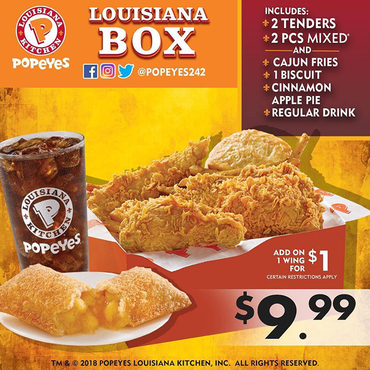 Popeyes Brand New 2 Tenders, 2 Pc Mixed, Cajun Fries, 1 Biscuit, Cinnamon Apple Pie and a Regular Drink!!