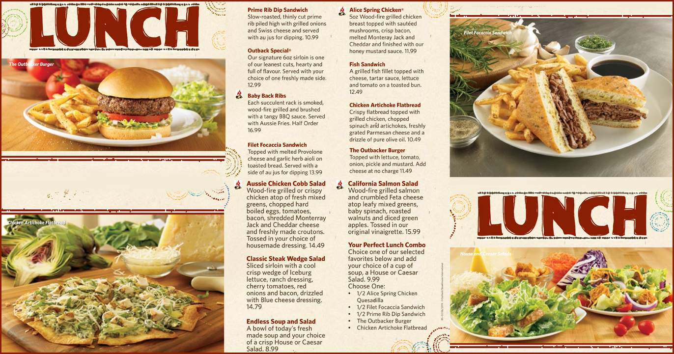 picture about Outback Steakhouse Printable Menu titled Outback steakhouse lunch menu discounts / Andres cuban