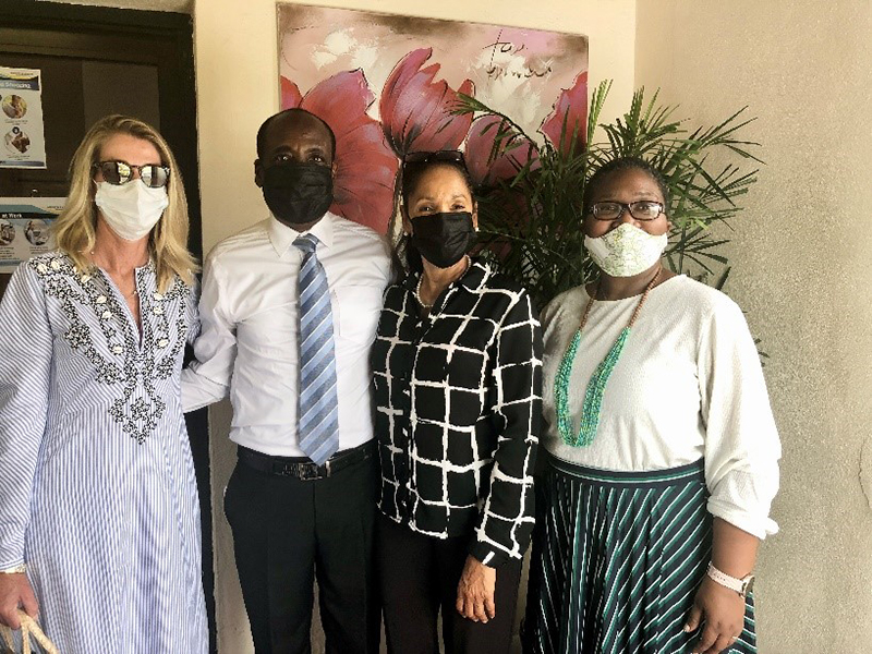 Mrs. Sarah Farrington, Vice-Chair, Lyford Cay Foundation, Inc; Pastor Ivan Butler and Dr. Joanne Butler, Kemp Road Ministries; and Dr. Nicola Virgill-Rolle, Executive Director, Lyford Cay Foundations.