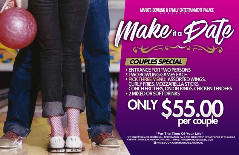 MAKE A DATE at Marios Bowling and Entertainment Palace.