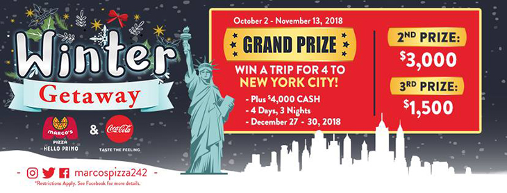 WINter Getaway Make a minimum purchase of $20 (must include a 2ltr soda) Fill out the entry receipt and be entered to win!