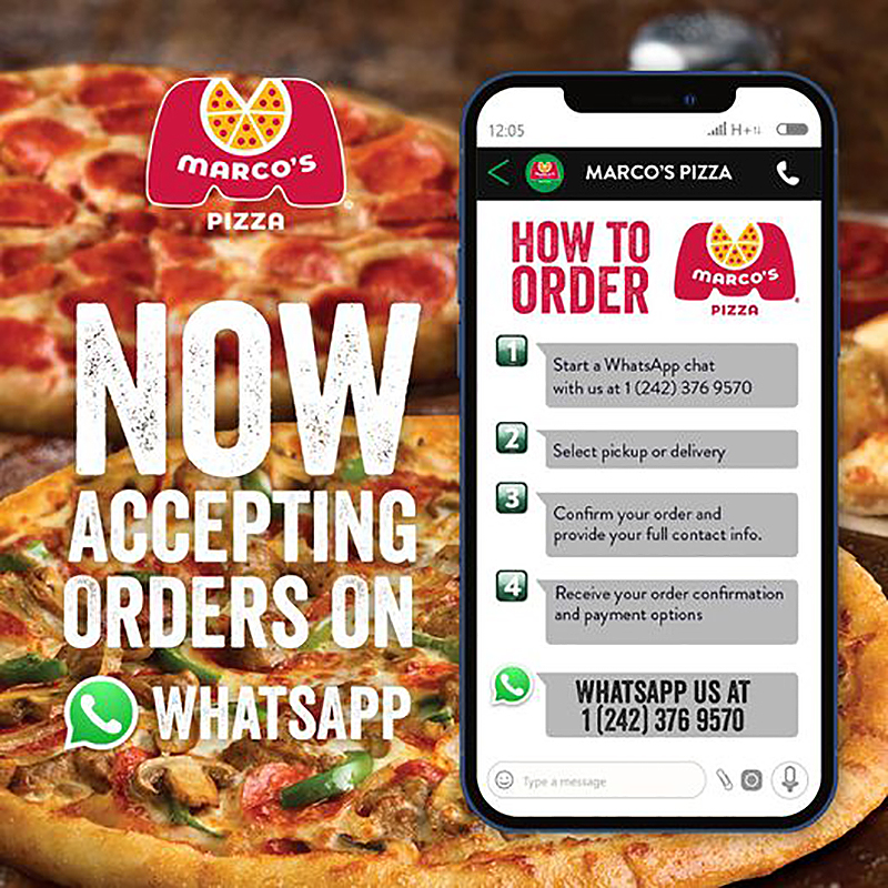 Never miss a beat with Marco's Pizza. Now you can order through What's App